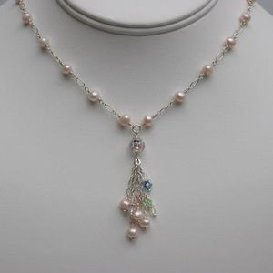 Handmade Pink Pearl flower bead necklace